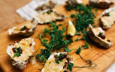 Stilton and Chutney Baked Oyster