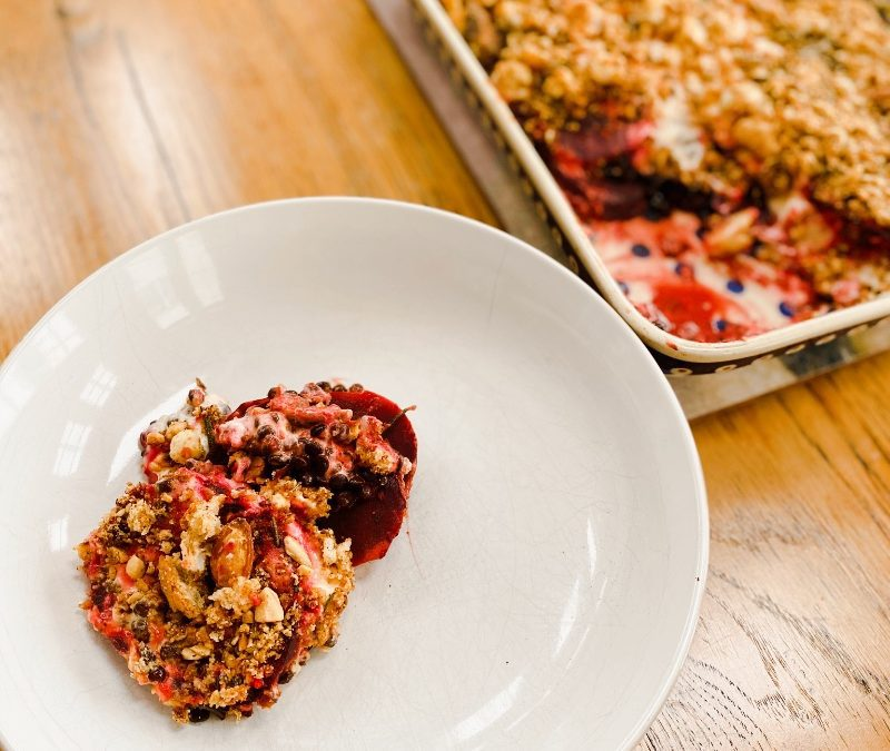Beetroot Lentil & Goat's Cheese Gratin